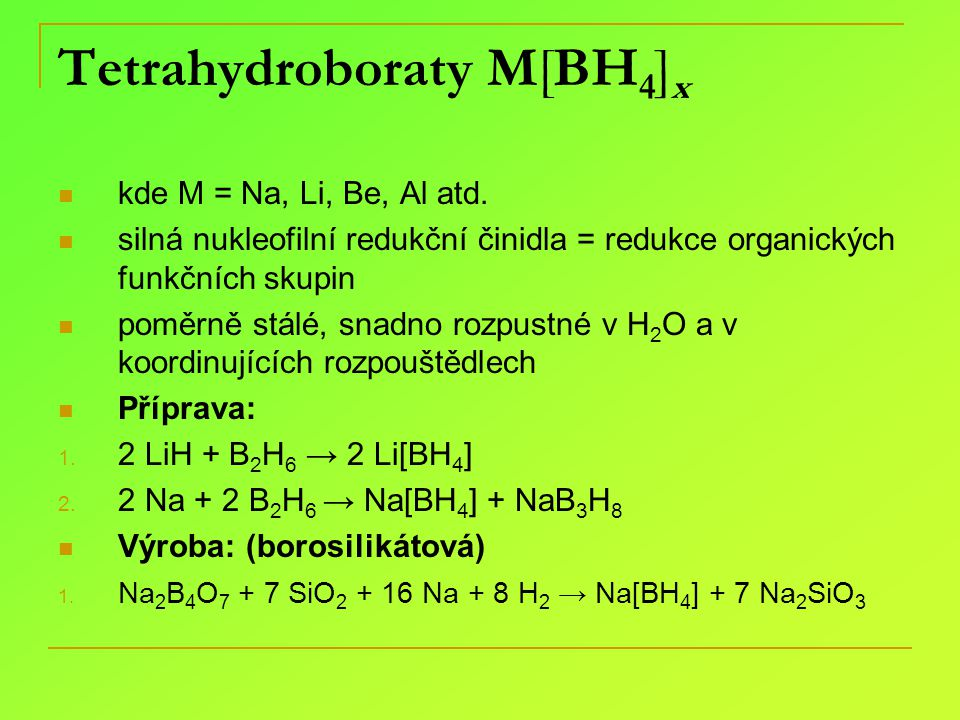 Tetrahydroboraty M[BH4]x